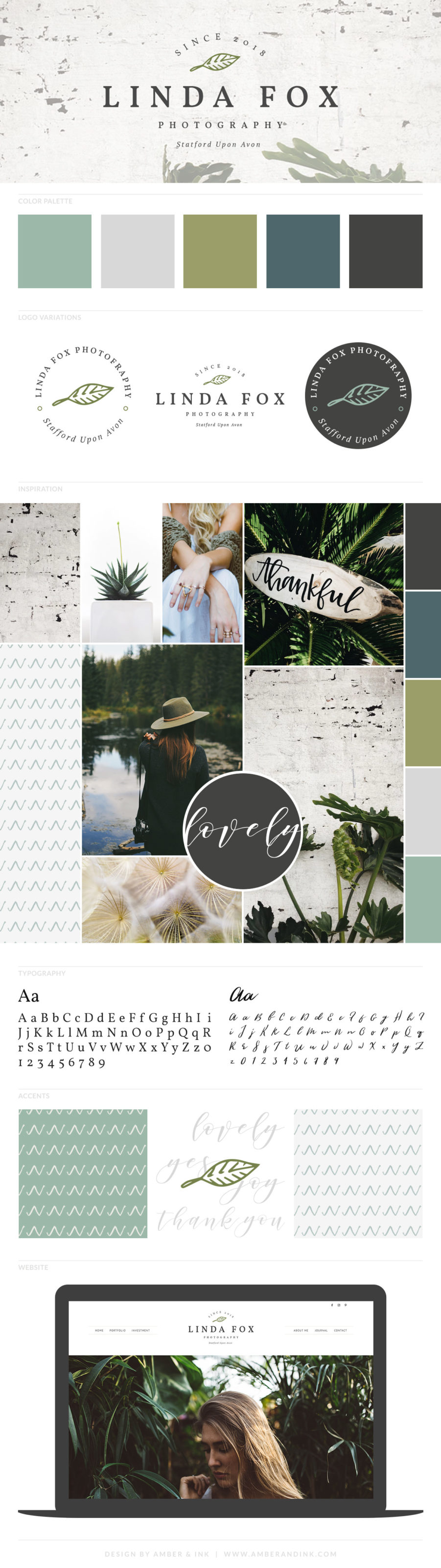 Branding board for a photographer. Includes green, boho vibes, website, color palette and moon board.