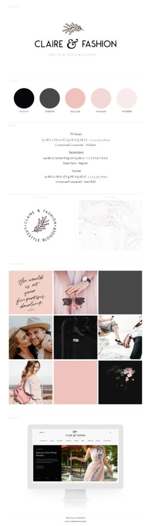 Chick, feminine branding board example. Includes pink and gray colors, website, color palette, logo design, and moon board.