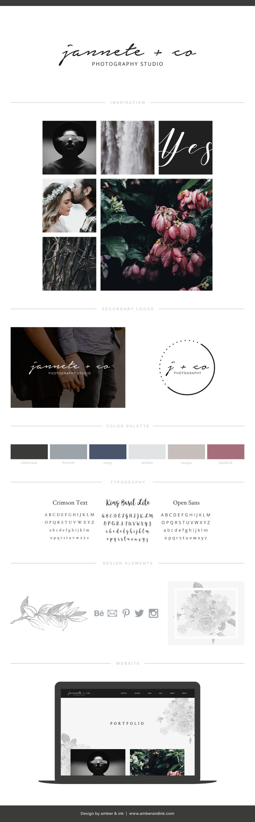 Branding board guide for wedding photographers. Dark, glamorous and classy.