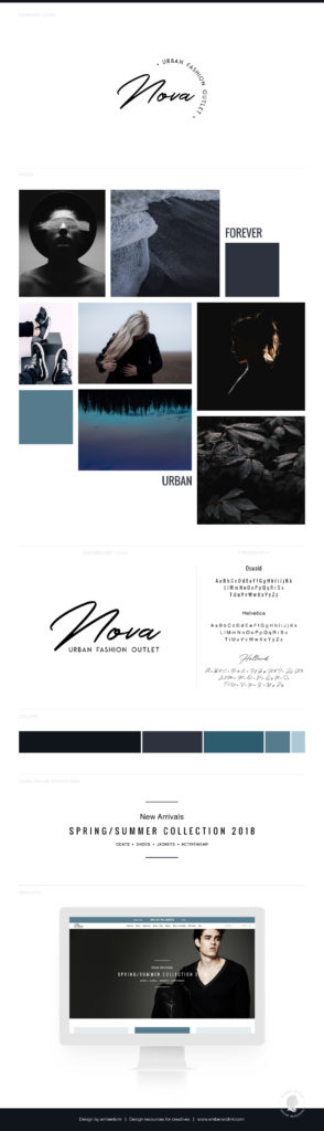 Dark and bold branding board for urban retail shop.