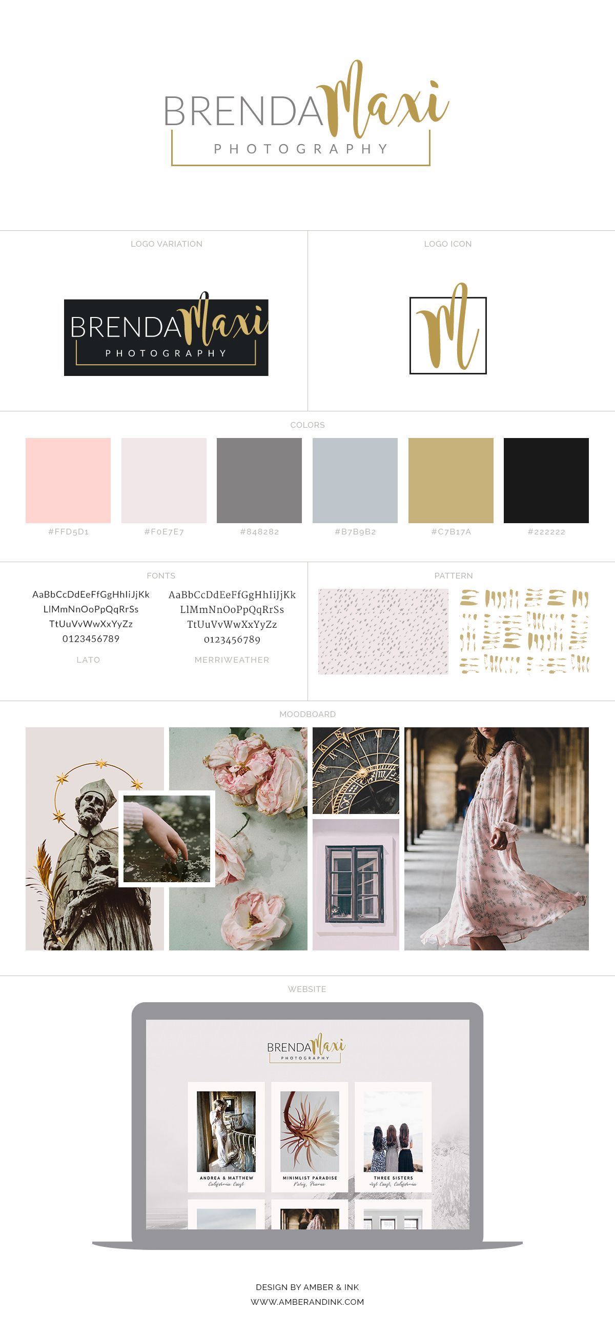 Feminine and romantic brand board inspiration.