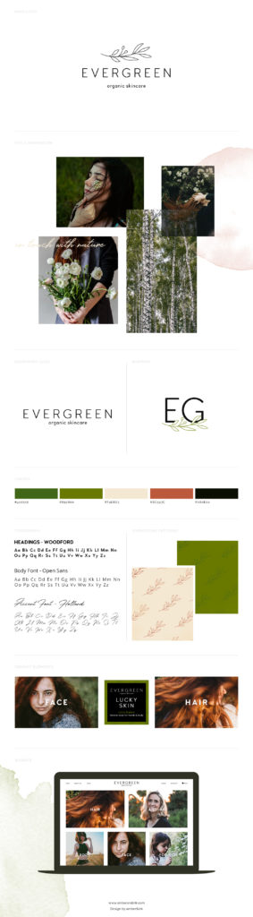Creative, natural, eco-inspired brand board with green, earthly colors and feminine feel.