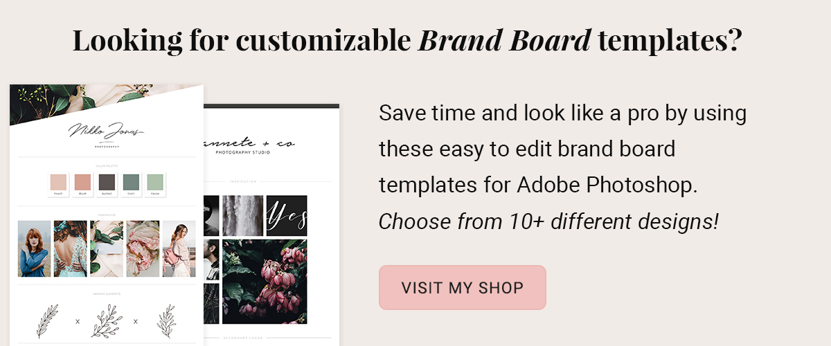 Brand board template shop by amber and ink