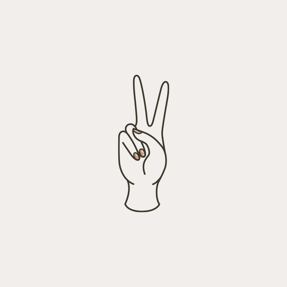 feminine hand illustration with peace sign gesture