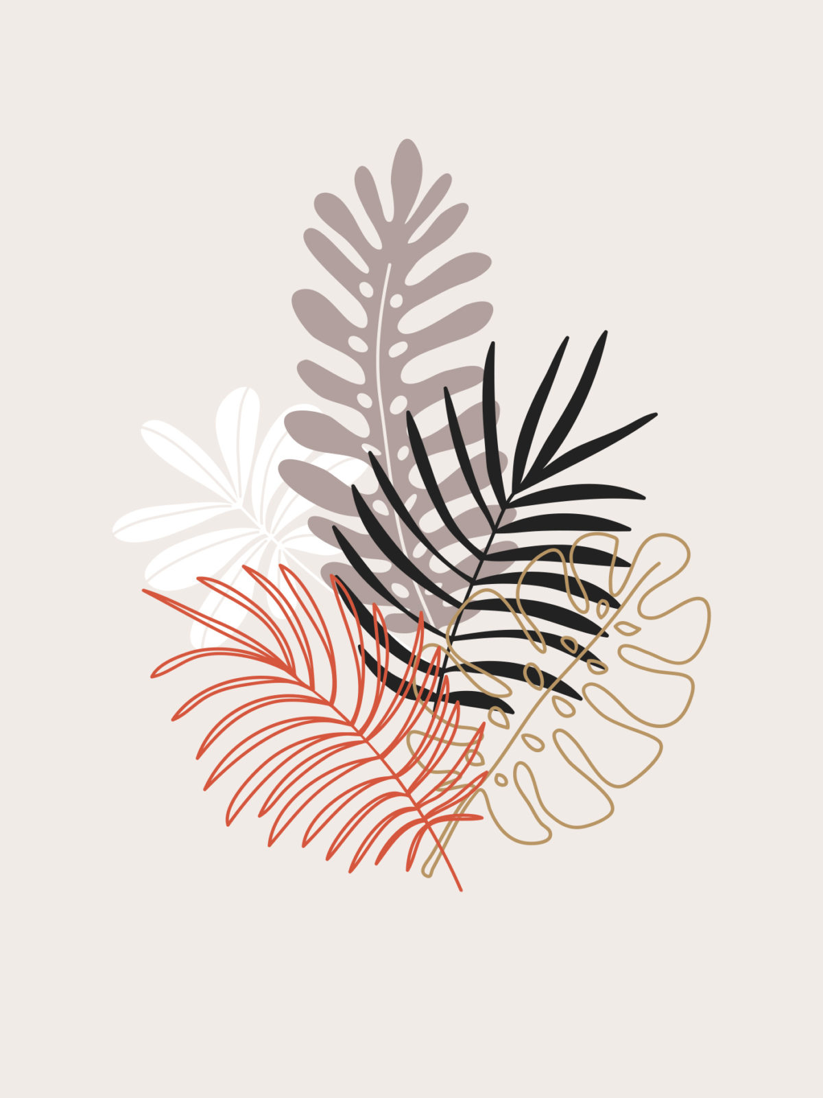 Tropical leaves illustration.