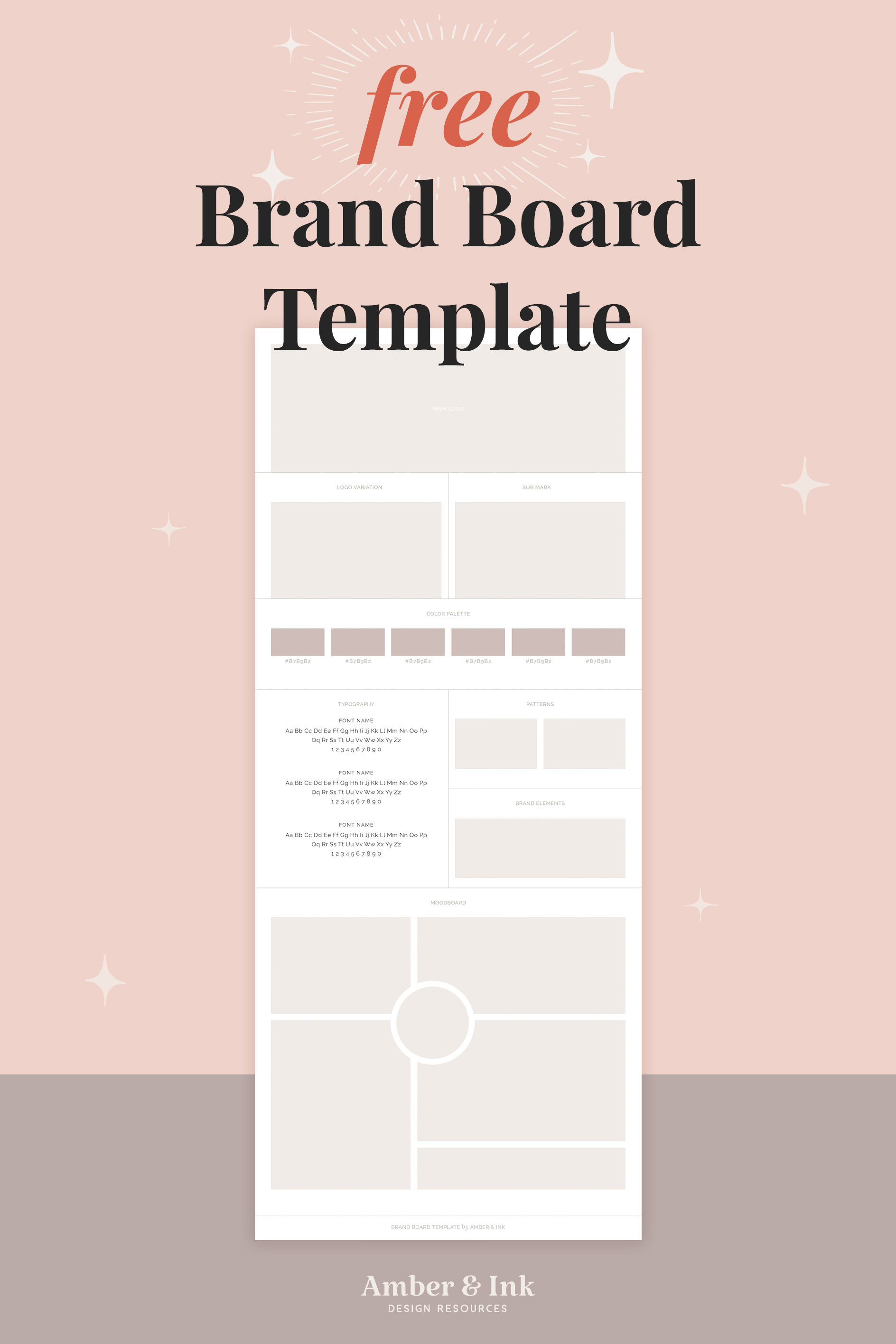 Free brand board template for Adobe Photoshop. Download link below.